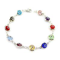 Wholesale Multi Color Bead Bracelet - Crystal Multi Color Turkish Evil Eye Bracelet Women Jewelry Diamond Cut Glass Bead Kabbalah Jewish Link Bracelet