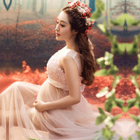 Wholesale Skirts For Pregnant - Women Pink Skirt Maternity Photography Props Elegant Pregnancy Clothes Maternity Dresse For pregnant Photo Shoot Voile Clothing