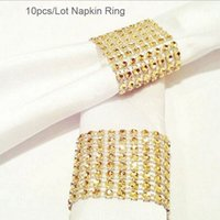 Wholesale Golden Napkins - Wholesale- 10Pcs Lot Golden Plastic Rhinestone Wrap Napkin Ring Napkin Buckle Hotel Wedding Supplies European Style Home Chair Decoration