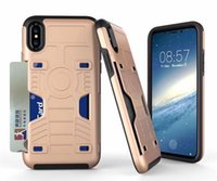 Wholesale Dual Rs - For iPhone 7 6s 6plus Card Slot Shell V-RS Design Case Dual Layers Card Slot Defender Cover TPU PC Protector Stand Holder with Retail Box