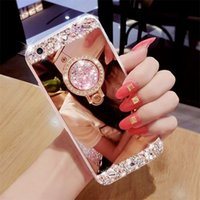 Wholesale handmade phone cases - Luxury Handmade Bling Diamond Crystal Holder Case With Stand Kickstand Mirror Phone Case For iPhone 5S 6 6S 7 Plus Samsung S6 S7 edge