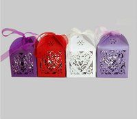 Wholesale Laser Cut Wood Box - DIY Wedding Gift Box Heart Laser Cut Candy Favor Boxes with Ribbon for Wedding Parties Table Decoration 9 Color 50pcs=1 color