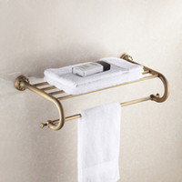 Wholesale Wall Towel Storage - Wall Mounted Holder Antique Bronze Shelf Single Layer Shower Bath Cosmetic Storage Rack Commodity Hanger