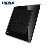 Less than 0.1mW black electrical sockets - LS LIVOLO Luxury Black crystal glass panel VL W2C1B Single wall Power electrical Socket Quality Guarantee