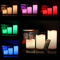 Wholesale color changing led christmas candles - LED Flameless Candles Remote Control 12 Color-changing Led Candle Light Set Romantic Candle Lamp Wedding Christmas Night Light Gifts 3 size
