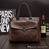 Wholesale Man S Leather Briefcase - Factory Direct Brand Bag Retro Crazy Horse Leather Men€s Briefcase Business Men Single Shoulder Bag British Style Stereo Pocket Bag