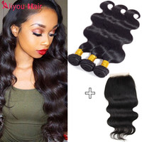 Wholesale Unprocessed Grade Virgin Hair - 4x4 Lace Closure with 3 Bundles Malaysian Virgin Hair Bundle Deals 8a grade Unprocessed Human Hair Extensions Natural Color dyeable