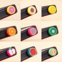 Wholesale Phone Ear Cap Fruit - 2016 New cute cartoon soft rubber fruit dust plug ear cap headphones clay plugs for cell phone accessories 1000pcs Wholesale