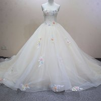 Wholesale Images Colourful Gowns - New Fashion Real Image Colourful Flowers Chapel Train Wedding Dress Graceful Slim Strapless Bridal Gown for Wedding Party WD0126