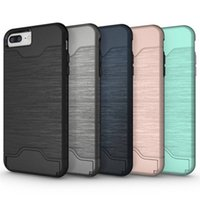 Wholesale Cell Combo - Case for iPhone 8 7 Plus iPhone 6 6S Plus Cell Phone Combo Case TPU + PC Back Cover with Card Slot