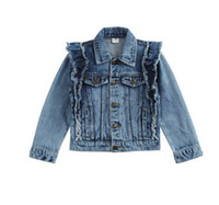 Wholesale Denim Girls Jacket - Children jeans jacket fashion big girls falbala fly sleeve double pocket denim outwear kids lapel single breasted cowboy coat T4905