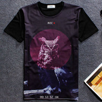 Crew Neck owl vision - Night owl T shirt Infrared ray vision short sleeve gown Anti pilling tees Leisure printing clothing Quality cotton Tshirt