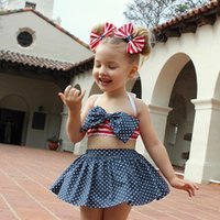 Wholesale Tutu Tops Sale - 2017 Hot Newborn Baby Clothes America Stars Striped Tops Dress Bowknot Fashion Suits Infantil Girl Little Dresses Mikrdoo Hot Sale Outfit