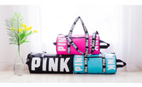Wholesale Waterproof Yoga Bag - Women Designer Handbags VS Pink Large Capacity Travel Duffel Striped Beach Bag Shoulder Bag Fashion Fitness Yoga Bags Waterproof Totes SY077