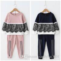 Wholesale Sport Wear Kids Girls - Kids Girls Lace Sets Baby Girls T-shirt + Trousers 2pcs Suits 2017 Autumn Infant Princess Sports Wear Outfits Children Clothes Boutique B605