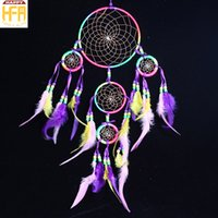 Dream Catcher Wall Chimes Art Decor Hangings Catcher Dream Cinque Anelli Ornamenti Feather Decorazione creativa Windbell Home Decorazione auto