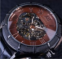 Wholesale Steampunk Transparent Skeleton - Forsining Skeleton Watch Transparent Roman Number Watches Men Luxury Brand Mechanical Men Big Face Watch Steampunk Wristwatches
