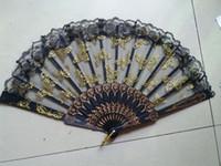 девушки бабочка спальня оптовых-Китайский стиль бабочка кружева пластиковые ручной складной вентиляторы для девочек женщин из рук складные вентиляторы открытый свадьба пользу черный