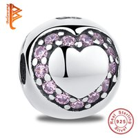 Wholesale Love Clip Pandora - BELAWANG 925 Sterling Silver European Charm Beads Crystal Heart Clip Lock Beads Fit Original Pandora Bracelets&Bangles DIY Jewelry Making