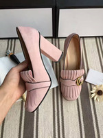 Wholesale Top Hot Selling Dresses - Seven Colors Hot selling Women Chunky high heel Pumps with Top quality Genuine leather Dress shoes Brand wedding party sweet single shoes