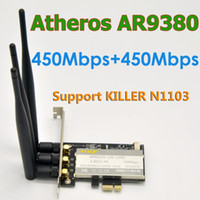 Wholesale N Sma Adapter - Wholesale- Atheros AR9380 AR5BXB12 802.11a b g n 900Mbps PCI-E WiFi Adapter With 3 x 6DBi SMA Antenna For MAC OS Linux   Windows 8,10