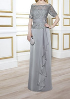 Wholesale Top Mother Bride Dresses - Elegant Mother of the Bride Dresses Light Gray Satin Chiffon with Lace Top Zipper Back Mother's Dresses Off Shoulder Custom Made Plus Size