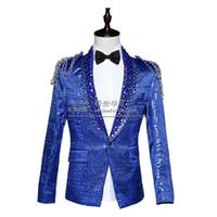 ingrosso dres blu prom-All'ingrosso- 2016 giacca sportiva giacca da ballo maschile costume discoteca bar sottile paillettes cantante ballerino spettacolo spettacolo Rosso blu bianco corte dres