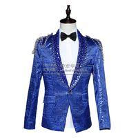 Wholesale Show White Costume - Wholesale- 2016 blazer jacket prom wedding male costume nightclub bar slim sequins singer dancer performance show Red blue white court dres