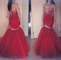 Wholesale Cheap Sexy Bling Dresses - Bling Evening Dresses 2017 New Dark Red Crystal Beads Tulle Mermaid Sweetheart Party Long Cheap Lace- Up Back Formal Pageant Prom Gowns