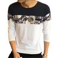 Wholesale Mens Quilts - 2017 spring and autumn fashion casual T-shirt O neck Mens Long Sleeve T-shirt dress coat slim flower quilt