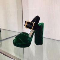 Wholesale Black Velvet Straps Shoes - 2016 New Genuine Leather Velvet Women HIgh Heel Sandals Buckle Strap Platform Women Thick Heel Pumps Shoes Women