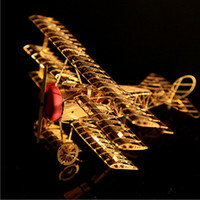 Wholesale Metal Model Fighter Plane - 2017 new World War 1 Fighter Three-wing Aircraft Airplane Puzzle Assembly Model Assembling Toy free shipping