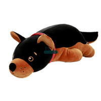 Wholesale giant stuff dog toys - Dorimytrader 90cm Big Simulated Animal Dog Plush Toys Soft Stuffed Giant Black Puppy Doll Wolf Dog Pillow 35inches Kids Gift DY61659