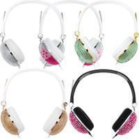 Wholesale Hot Dj Music - Artificial Headphone Crystal Rhinestone Bling Anti-noise Music Fashion Earphone for DJ Mobile Phone PC Hot +B