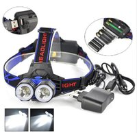 Wholesale T6 Aa - 5000 Lumen 2x XM-L XML T6 LED Head Flashlight 18650 AAA AA Headlamp Lantern Head Lamp Flash Light+Charger+Usb Cable For Camping