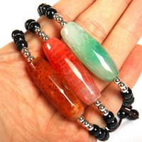relógios onyx venda por atacado-Homens Assista Pulseira Atacado 6mm Preto Facetado Onyx Beads Rosa Dragão Azul Veias Grande Tubo De Pedra Pulseira Pulseiras Macrame