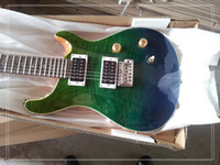 Custom Shop Reed Smith Guitare 22 Frets Tiger Flame Maple Top Green Faded Guitare électrique Abalone Flower Inlay Natural Mahogany Back and Sid