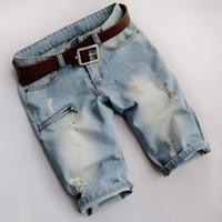 Wholesale Men S Jeans Bermuda - Summer style men denim shorts ripped fashion Beach zipper mma Slim Straight biker jeans overalls bermuda masculina