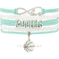 Wholesale Wholesale Custom Heels - Custom-Infinity Love North Carolina Tar Heels Basketball Charm Multilayer Wrap Bracelets Blue White Women's Fashion Leather Bracelets