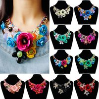 Wholesale Colored Stainless Steel Pendants - Necklaces Pendants Jewelry Woman colored gemstone pendant flowers Braided rope necklace short clavicle female accessories 1357