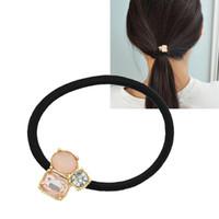 Wholesale Elastic Headbands For Women - Hair Accessories Black Elastic Rope Pink White Black Rhinestone Decoration Headband Headwear Hair Jewelry for Women
