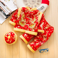 Wholesale Chinese Sale Suits - Hot Sale Cotton Chinese Traditional Embroidery New Year Sets with O-Neck for Baby Boy Winter Cotton Clothing Tang Suits Thick Infant Costume