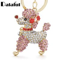 Wholesale lovely lovers online - beijia Lovely Poodle Dog Bowknot Crystal Keychains Keyrings For Car Women Alloy Purse Bag Key Chain Ring Holder K307