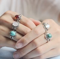 Wholesale Antique Cz Ring - Antique red CZ Ring healing stone ring,Turquoise Silver Ring,ROSE QUARTZ RING,Cat Eye Stone,synthetic Malachite STONE jewelry