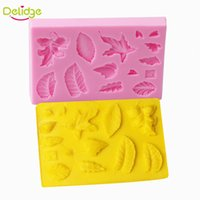 Wholesale Chocolate Different Shape - Delidge 20 pc Leaf Shape Cake Mold Silicone 3D Different Leaves Plant Soap Mold DIY Handmade Cake Fondant Chocolate Mold Tools