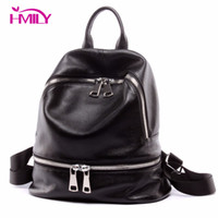 Wholesale leather backpack vintage genuine - Wholesale- HMILY Women Daily Bags Vintage Genuine Cow Leather New Brand Women Backpack Fashion Travel Bag For Ladies Daily Laptop Bag