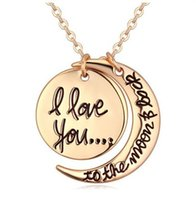 Wholesale Heart Clasp Pendant - 2017 Hot 7Styles I Love You To The Moon and Back Necklace Lobster Clasp Pendant Necklaces