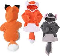 Wholesale Outwear Tail - 2017 New Spring Baby Girls Boys Cute Fox Design Outwears Children Cartoon Animal Fox Hoodies With Ear Hat Tail Kids Cotton Coats B4417