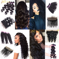 Wholesale Brazilian Knot Hair Extension - JYZ Human Hair Lace Frontal Bleached Knots With Baby Hair With Bundles Ear To Ear Closure 13x4 Lace Closure With Brazilian Hair Extensions
