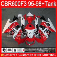 Wholesale Honda Cbr 1997 - 8 Gifts 23 gloss red Colors For HONDA CBR600F3 95 96 97 98 CBR600RR FS 2HM34 CBR600 F3 600F3 CBR 600 F3 1995 1996 1997 1998 white Fairing
